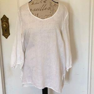 Saks Fifth Avenue White Linen Tunic XL
